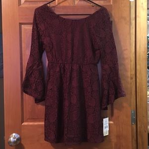 Plum lace dress with long sleeves